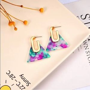 Jewelry - Acrylic Inverted Triangle Earrings Pink Green Gold